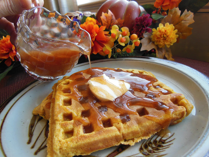 Kim's County Line: Pumpkin Waffles with Apple Cider Syrup
