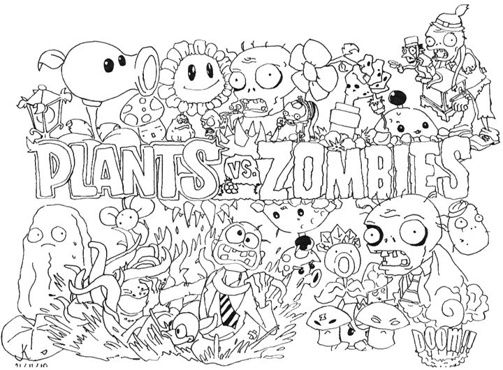 plants vs zombie Coloriage