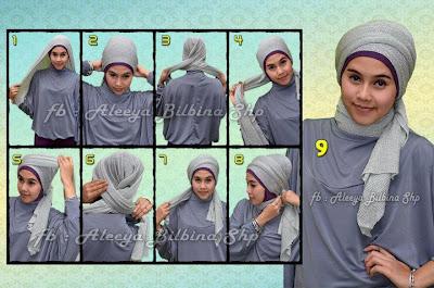 Cara Memakai Jilbab Pashmina Glitter Turban
