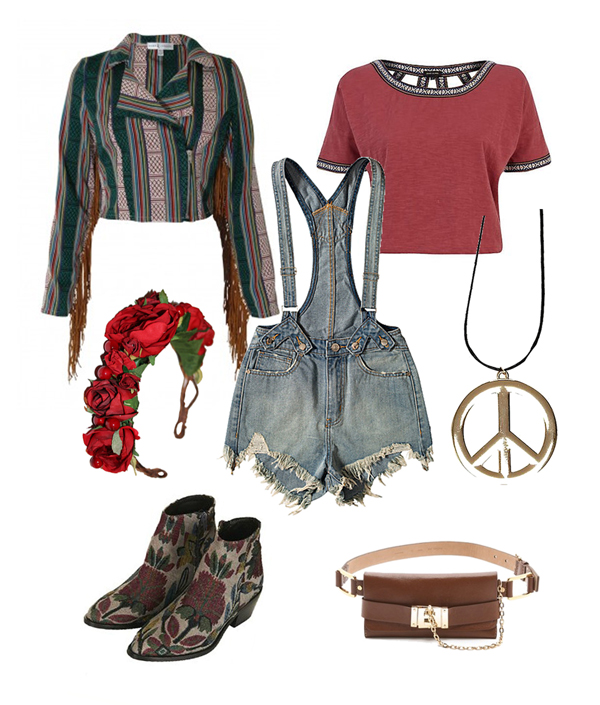 topshop tapestry boots, unif overalls denim dungarees, roses and clementines, red rose crown, red rose headwear, peace sign gold necklace, river island, hippy, festival, hippie,  belt bag