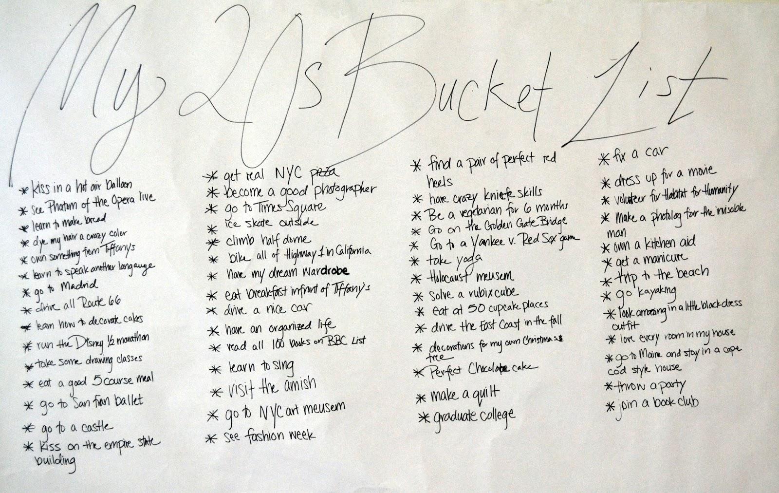 Aisle 11 My 20s Bucket List