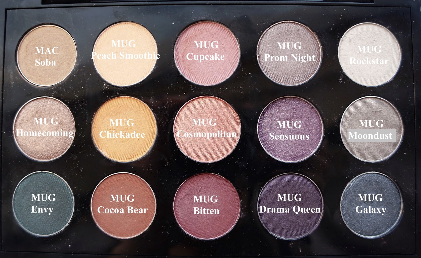 Below is the swatches of them from top to bottom and from left to right.