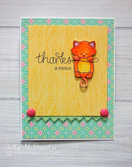 Thanks hanging cat card by Shellye McDaniel for Newton's Nook Designs | Simply Sentimental Stamp Set