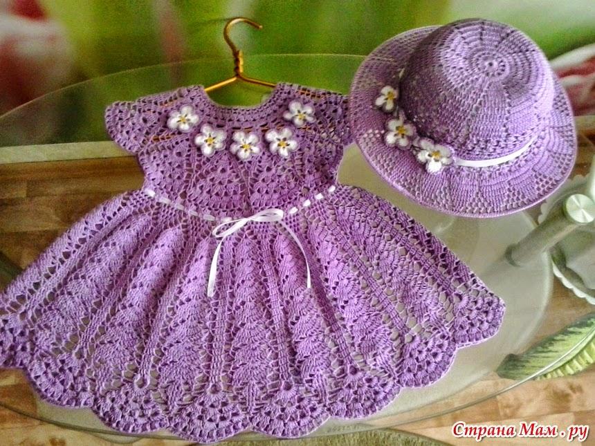Encantador conjunto de vestido y sombrero para niña al crochet ...