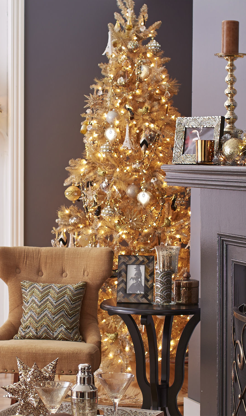 Pre-Lit Gold Pine Tree from Pier One