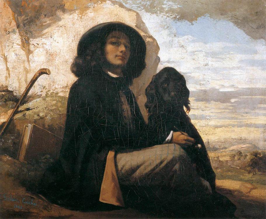 Imagen de la pintura autorretrato con un perro negro de Courbet