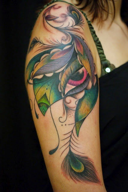 ♥ ♫ ♥  Gorgeous Peacock Sleeve Tattoo  ♥ ♫ ♥