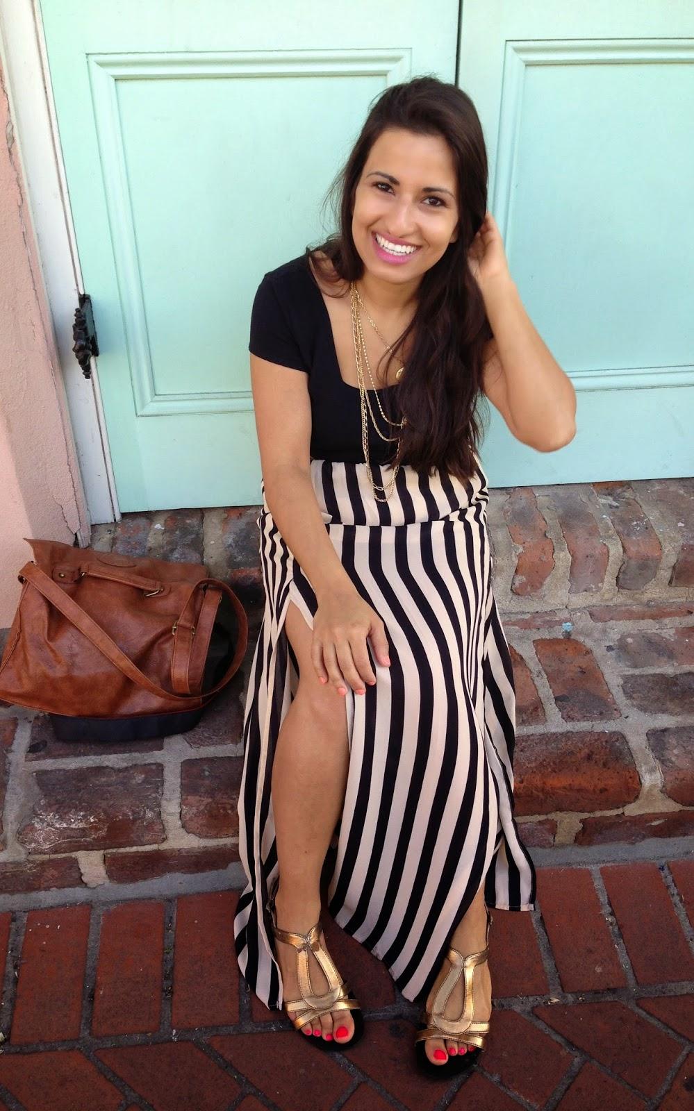 Stripe Maxi Skirt & Cropped Top – Dina's Days