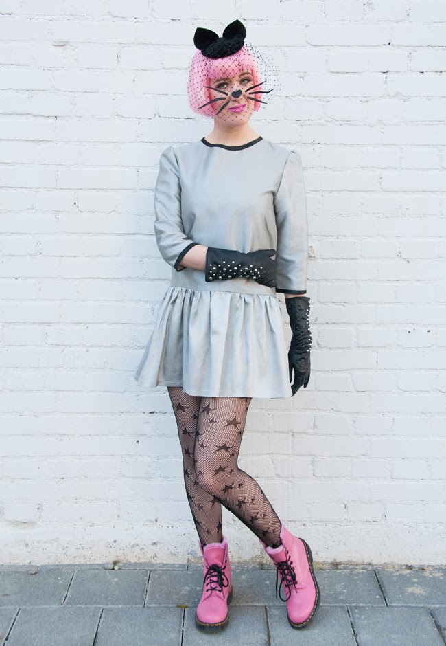 metallic dress, pastel pink hair, Cat hat, pink dr. martens