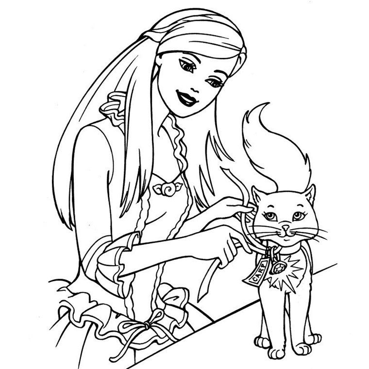 barbie cat coloring pages - photo#1