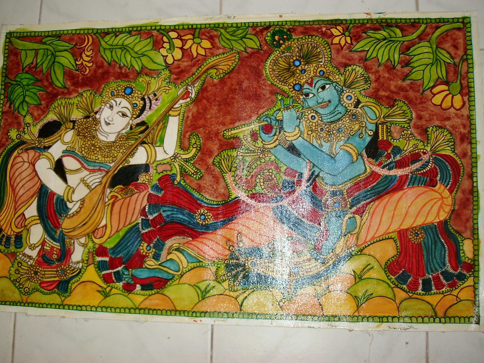 Usha srikumar 39 s musings kerala mural radha krishna for Mural radha krishna