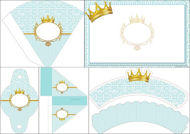 Golden Crown in Light Blue: Free Printable Invitation and Free Party Printable. | Oh My Baby!