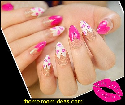 Pink Kiss False Nails Art Decoration