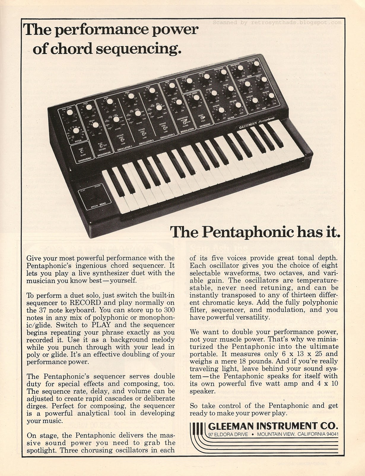 Retro Synth Ads 2011 Andrewmartenscom Mmt8 Keypad Repair For Dummies Gleeman Pentaphonic The Performance Power Of Chord Sequencing Ad Keyboard 1981