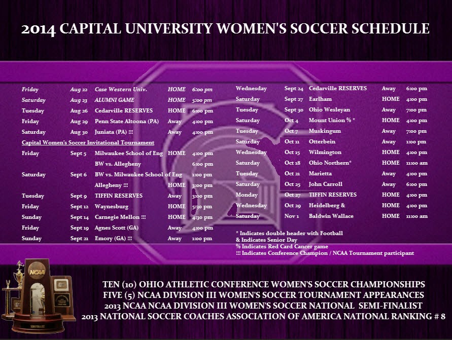 2014 Capital Women's Soccer Schedule