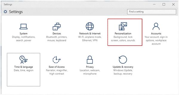 choose windows 10 personalization