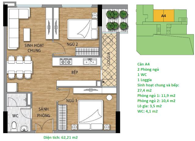 Căn hộ A4 diện tích 62,21 m2 tầng 2 Valencia Garden