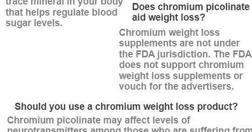 How does chromium picolinate help you lose weight