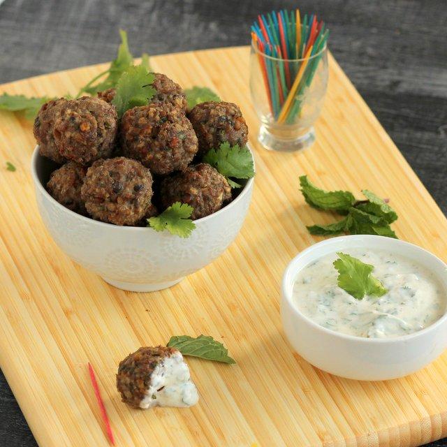 Kid Cultivation: Lamb and Lentil Mini-Meatballs with Cumin Yogurt Dip