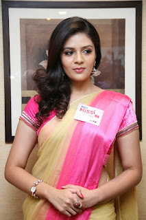 Actress Srimukhi New Stills in Saree at Max Miss Hyderabad 2014 Poster Launch  0012