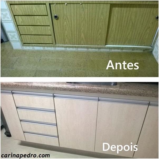 Antes e depois da bancada de cozinha, projeto de Carina Pedro
