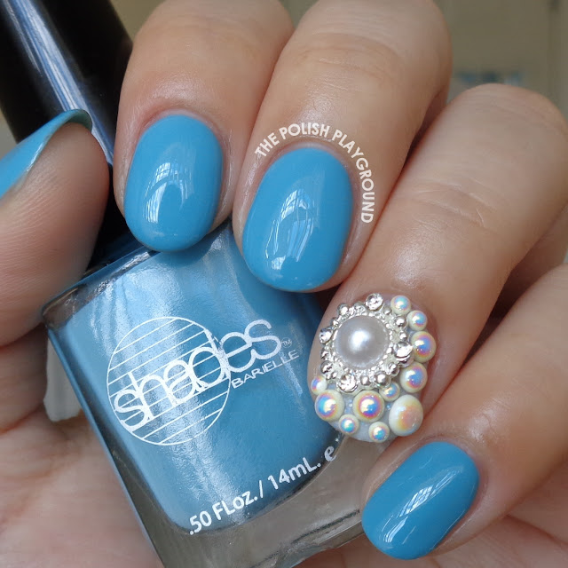 Sky Blue Creme with Blinged Accent Nail Art