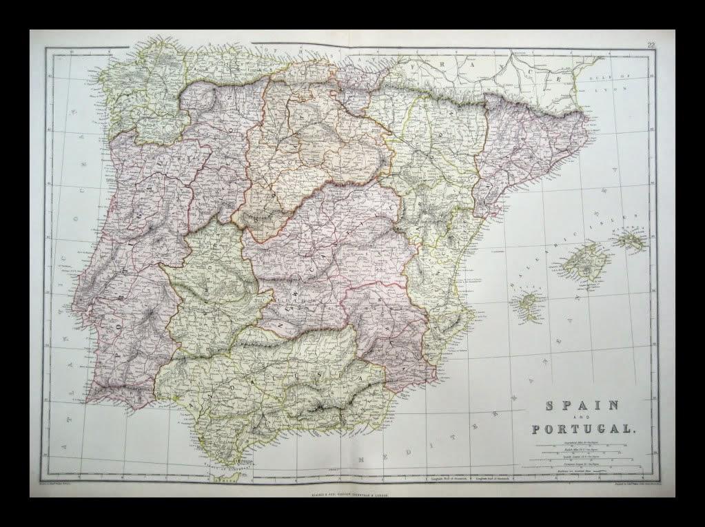 España y Portugal 1882 W.G. Blackie