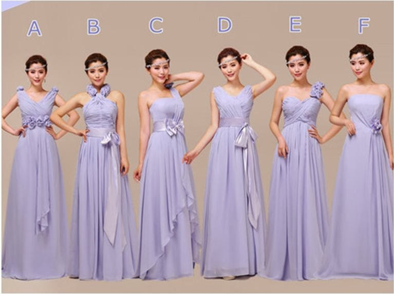 Exquisite 6-Design Bridesmaid Long Dress