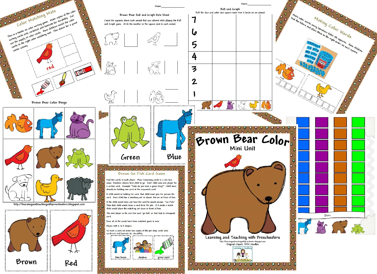 learning and teaching with preschoolers brown bear freebie