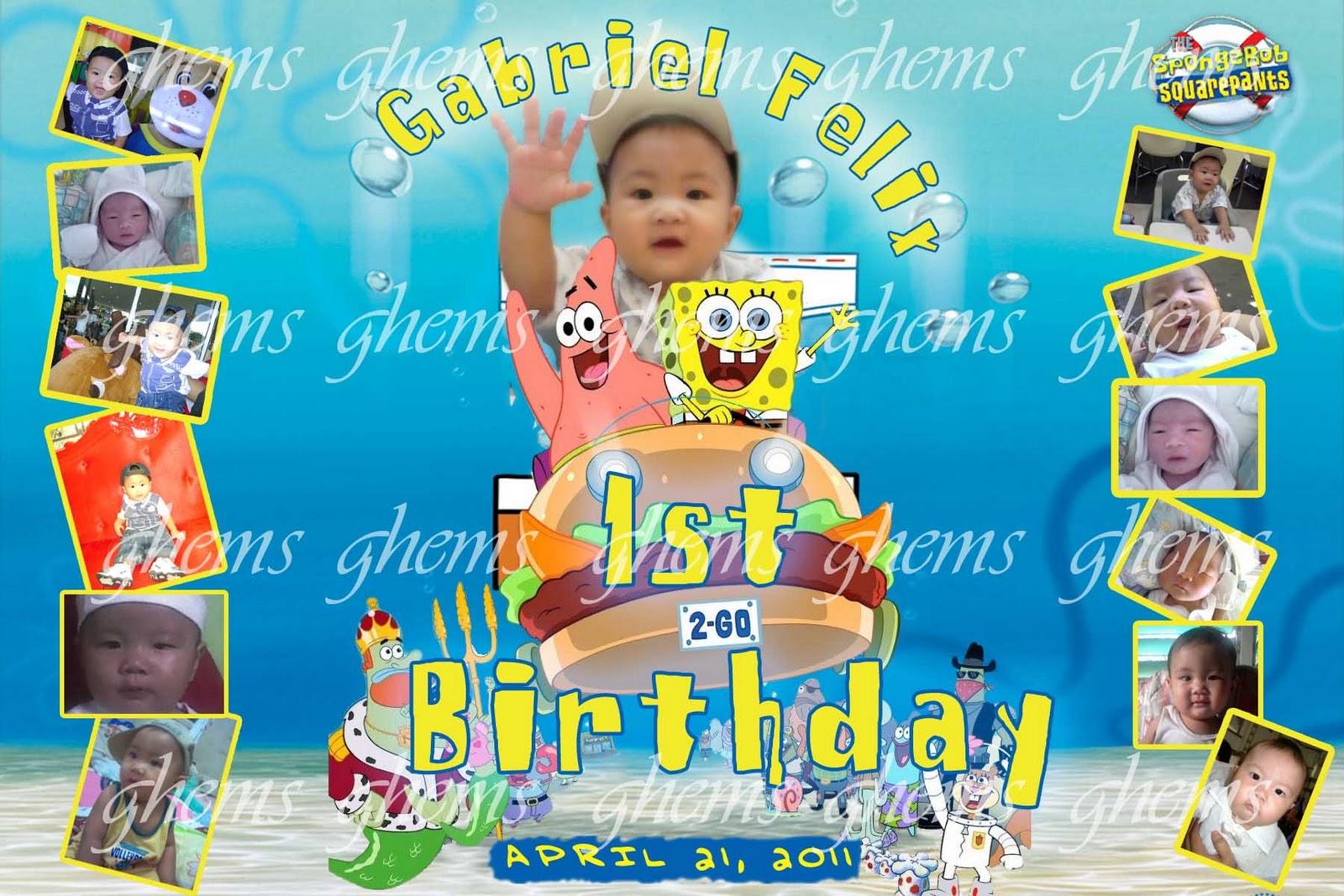 Spongebob 1st birthday tarpaulin ghems partyneeds catering services spongebob 1st birthday tarpaulin filmwisefo
