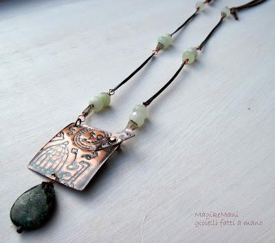 collana con bastoncini di rame fatti con filo di rame mm2