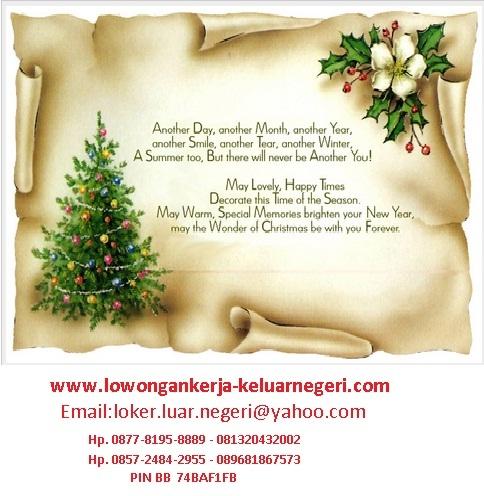 Selamat Natal dan Tahun Baru 2015 - Lowongan Kerja ke Luar Negeri - Ali Syarief 0877-8195-8889 - 081320432002 pin 74BAF1FB