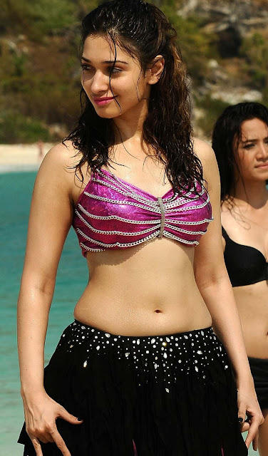 tamanna hot navel show photos in beach