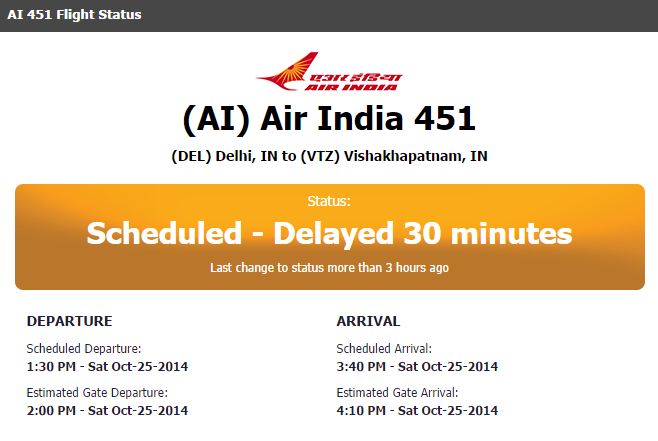 ai 451 flight delayed oct 25 2014