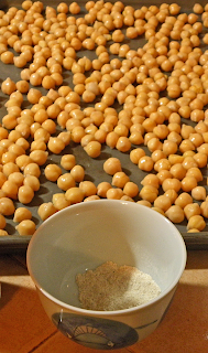 Chickpeas on Baking Sheet and Small Cup of Spices