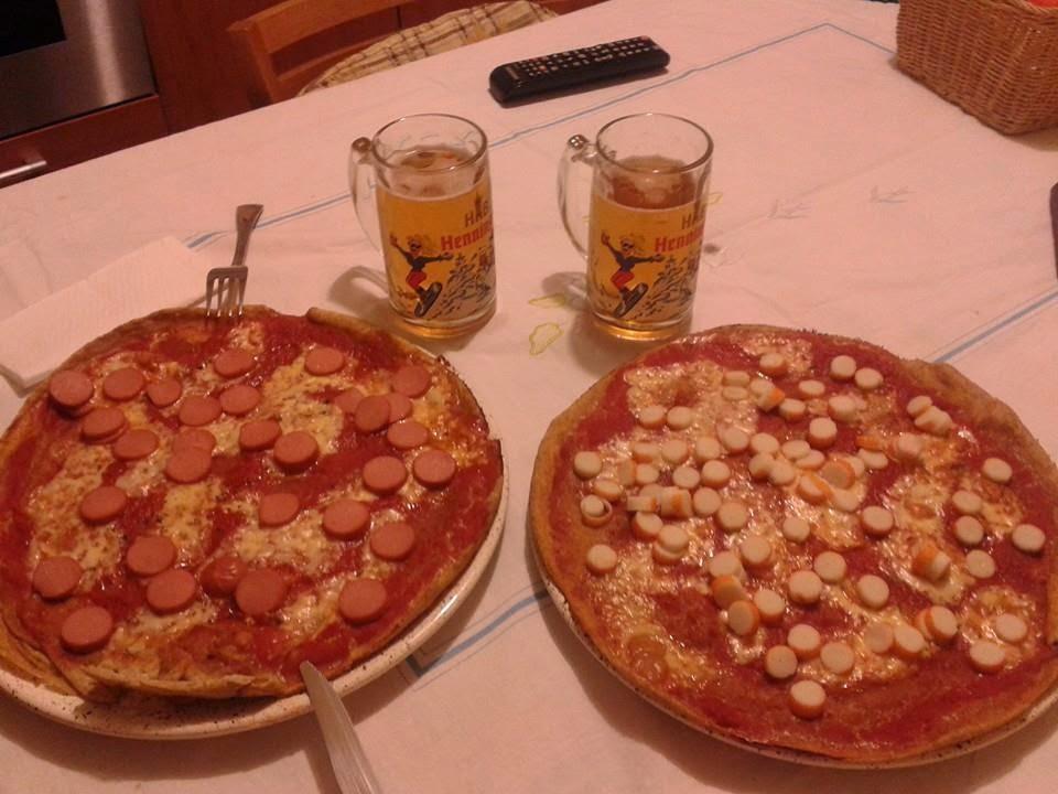 bimby, pizza ai würstel e pizza al surimi