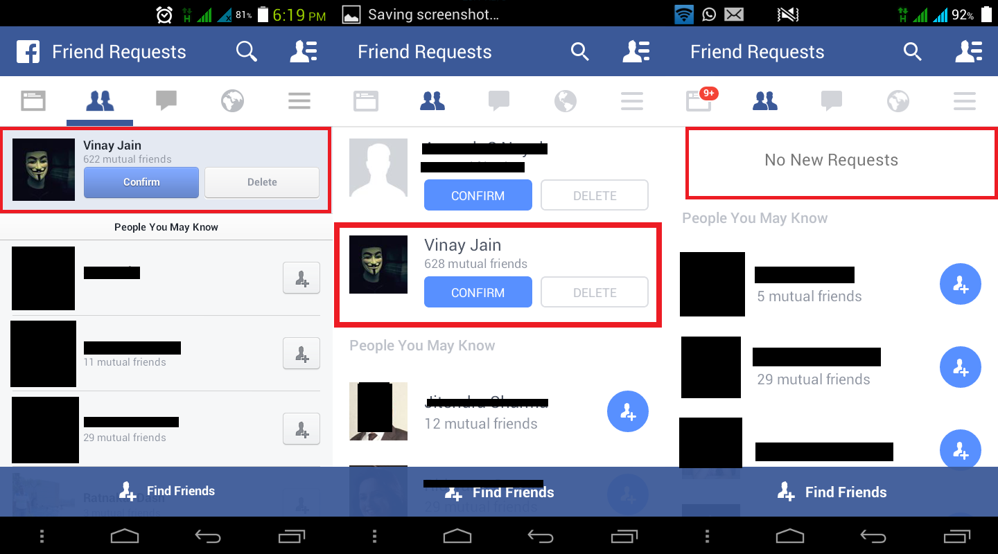 Facebook app no requests