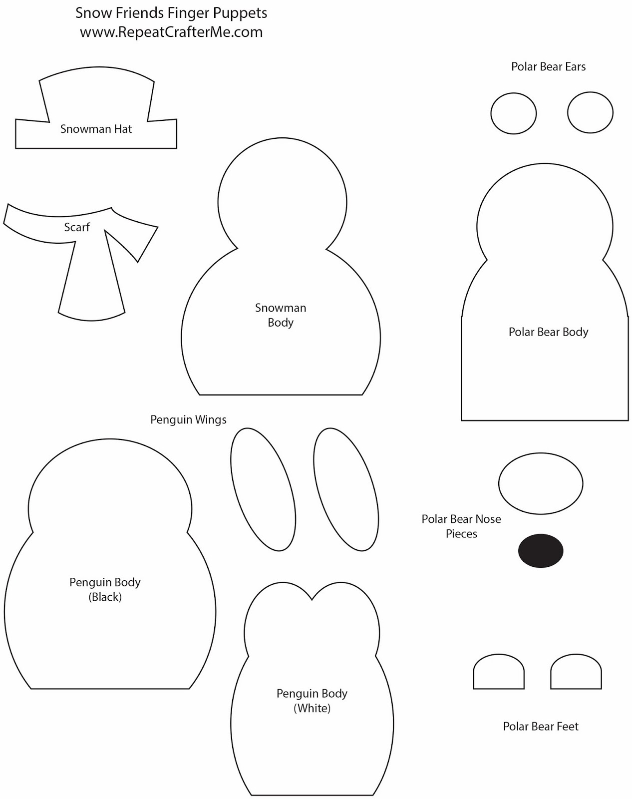 Snow friends finger puppets repeat crafter me for Paper finger puppets templates