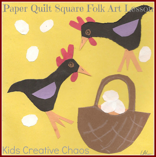 Homeschool Folk Art Lesson Paper Craft Quilt Squares Jakes
