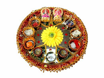 Laxmi puja for Aarti thali decoration with rice