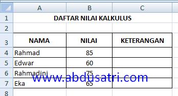 contoh penggunaan IF di Excel
