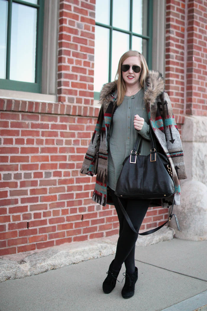 boston blogger, charlestown navy yard, boston style blog, bb dakota tribal jacket, faux fur hood