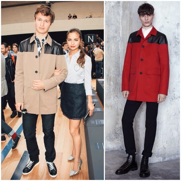 Violetta Komyshan and Ansel Elgort in Dior Homme coat with leather shoulders - Dior Homme Paris Fashion Week Menswear Spring Summer 2015