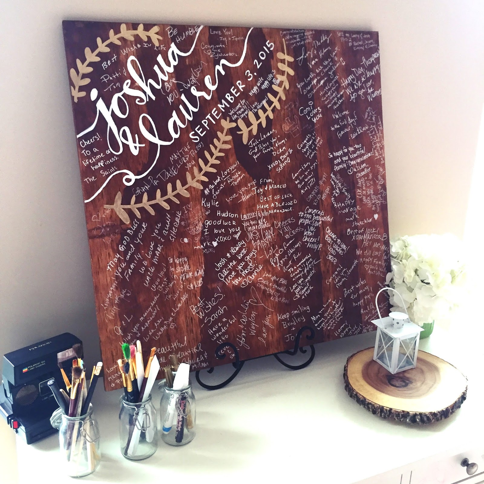 Forever fireflying wedding diy wood guestbook once everyone has signed and the party is all over you can seal the board with a wood sealer to keep it safe from water damage and years of wear and tear solutioingenieria Images
