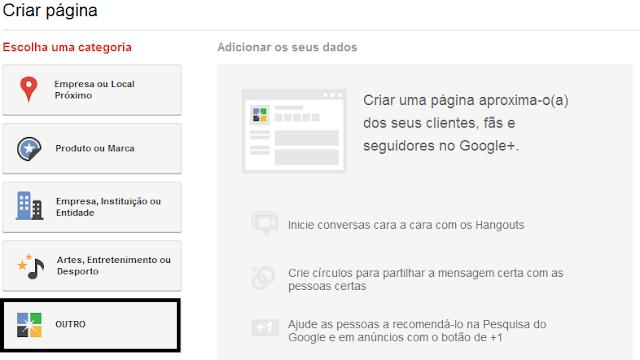 Como criar uma página para o seu blog no Google Plus - Step 2