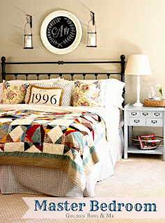 master bedroom with pottery barn quilt chalkboard monogram hanging lanterns via www.goldenboysandme.com