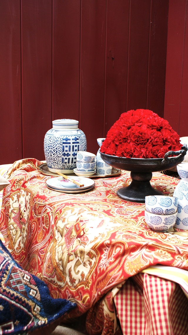 Color Outside The Lines Bohemian Asian Tablescape