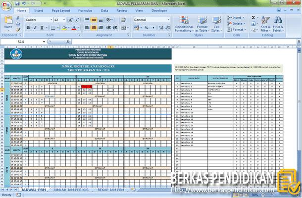 Aplikasi Jadwal Pelajaran SMA Format Microsoft Excel
