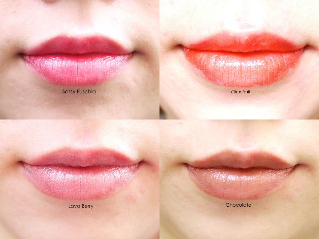 Mary Kay True Dimensions Lipstick  citrus fruit sassy fuschio lava berry chocolate lip swatch review
