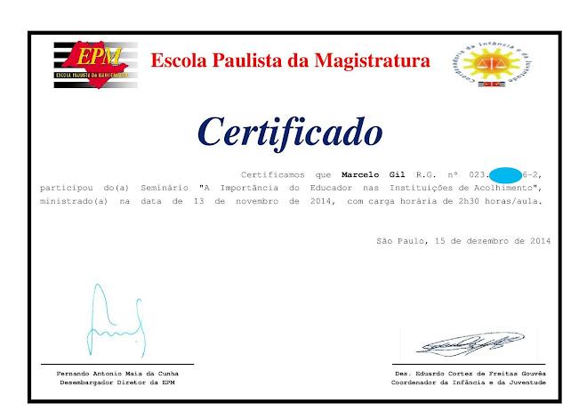 CERTIFICADO DE PARTICIPAÇÃO EM SEMINÁRIO DA ESCOLA PAULISTA DE MAGISTRATURA - 2014